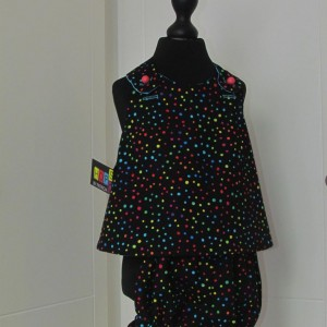 Black Spotted Pinafore Dress with panties.