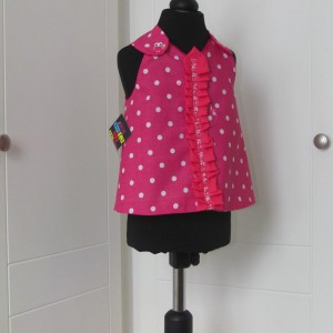 Pink and White Spotted Pinafore Dress with panties.